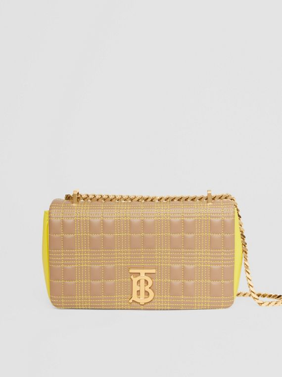 Small Quilted Tri-tone Lambskin Lola Bag in Camel/yellow