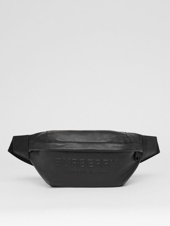 Logo Embossed Leather Sonny Bum Bag in Black