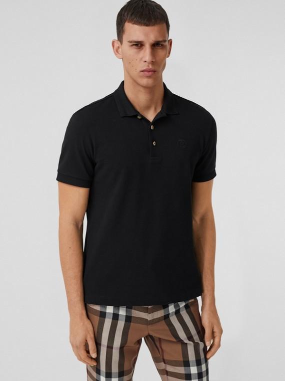 Button Detail Cotton Piqué Polo Shirt in Black