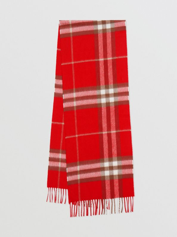 The Classic Check Cashmere Scarf in Red