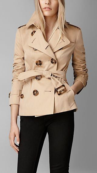 Horn-Look Button Gabardine Trench Jacket