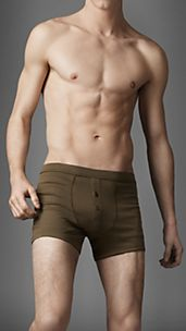 Cotton Blend Ribbed Boxer Briefs