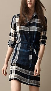 Cotton Blend Check Shirt Dress
