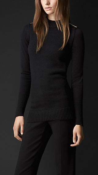 Metal Epaulette Cashmere Sweater