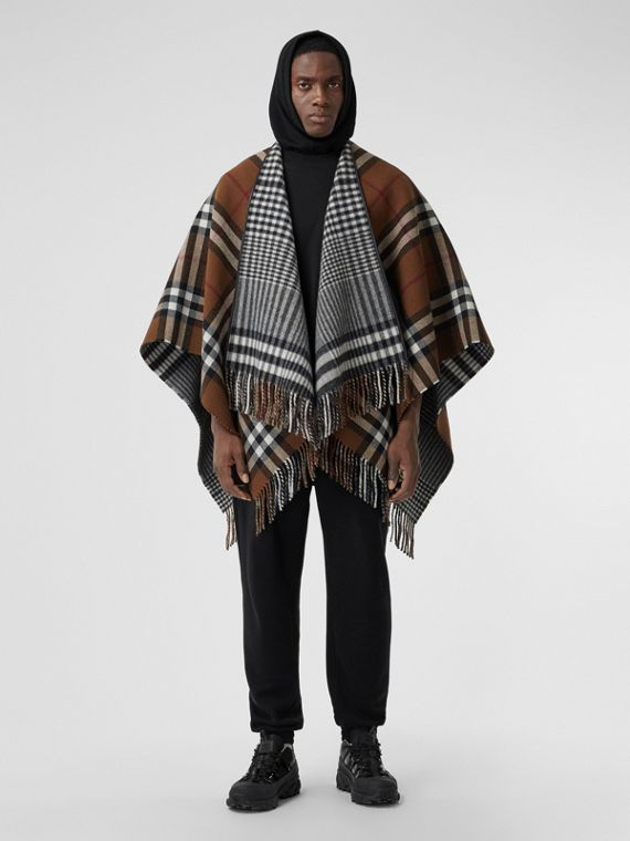 Reversible Lambskin Trim Check Wool Cape in Birch Brown