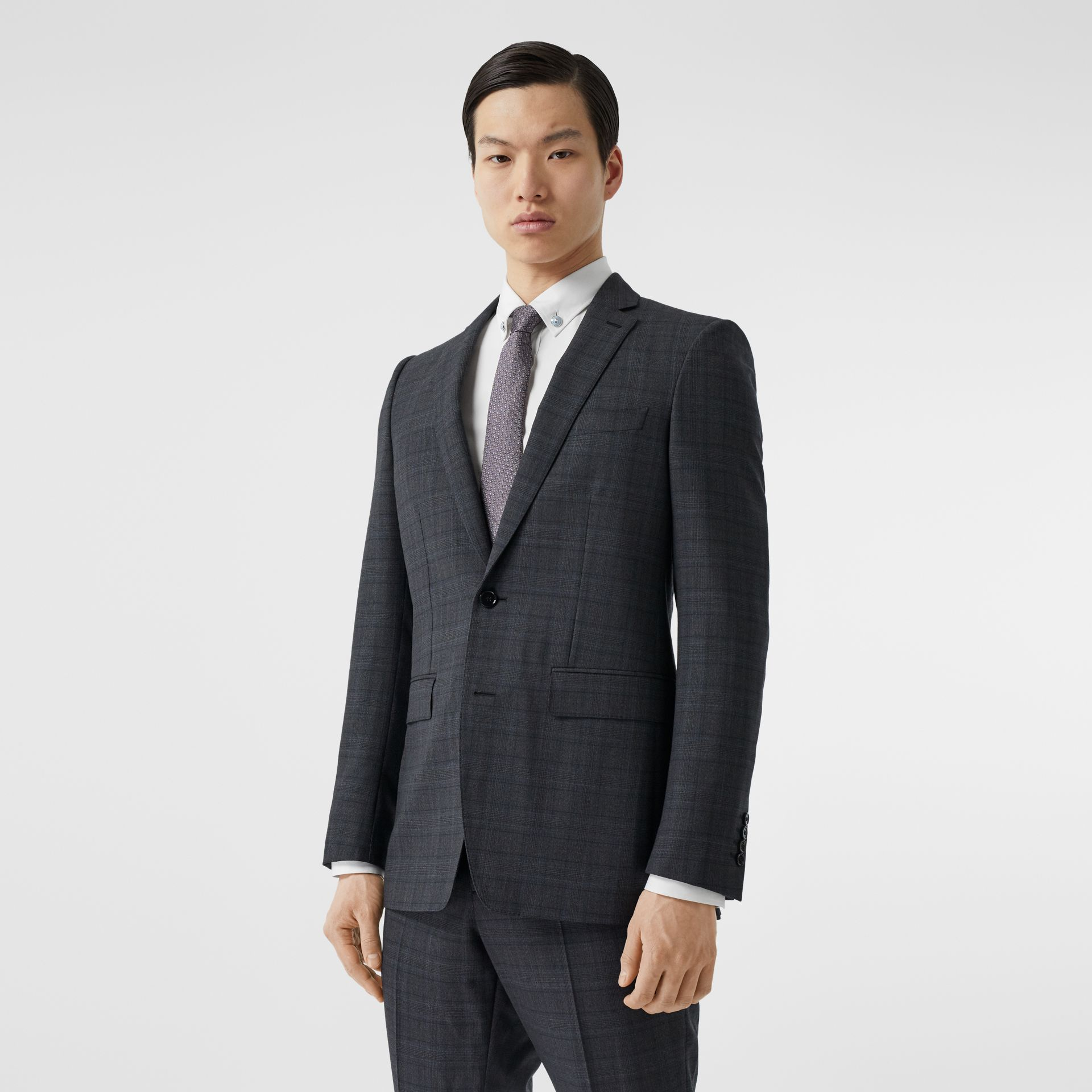 English Fit Check Wool Suit in Steel Blue | Burberry - gallery image 7
