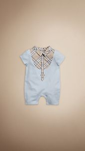 Check Bib Cotton Playsuit