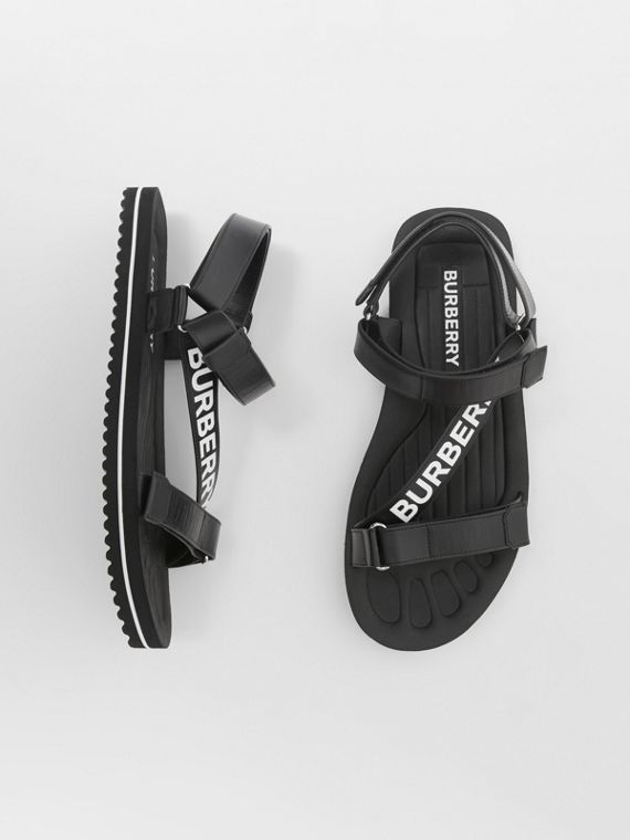 Logo Print Leather Sandals in Black