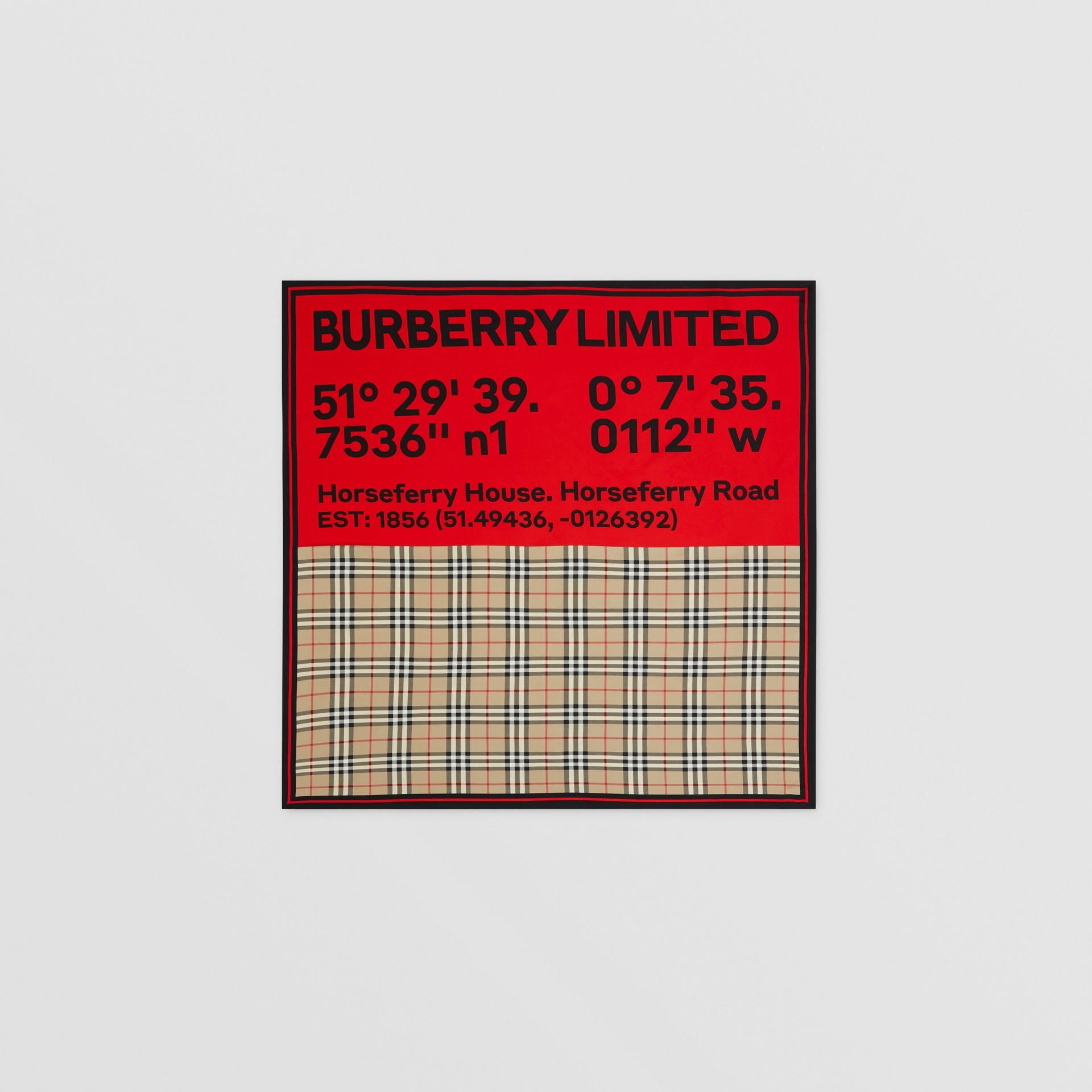 Seidenkarreeschal mit Druckmotiven (Vintage-beige/rot/rosa) | Burberry - Galerie-Bild 0