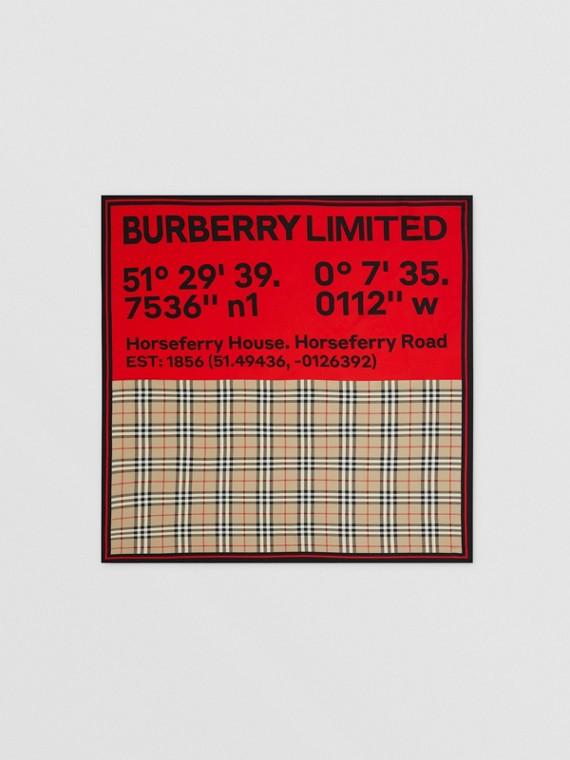 Seidenkarreeschal mit Druckmotiven (Vintage-beige/rot/rosa)