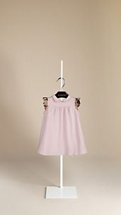 Check Ruffle Piqué Cotton Dress