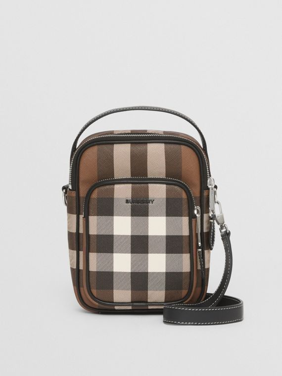 Check E-canvas Crossbody Bag in Dark Birch Brown
