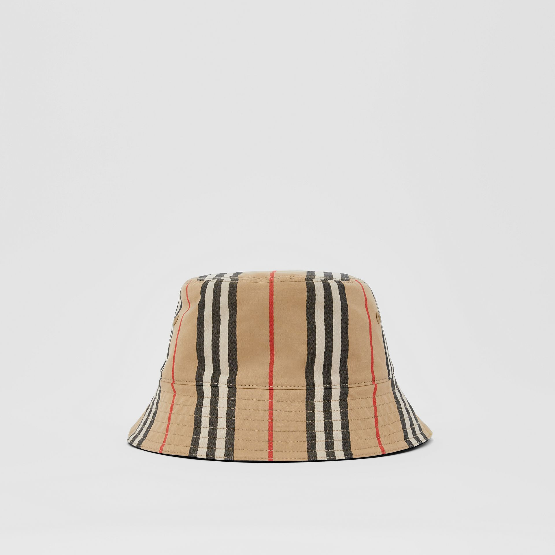 Reversible Icon Stripe Cotton Bucket Hat in Archive Beige | Burberry - gallery image 2