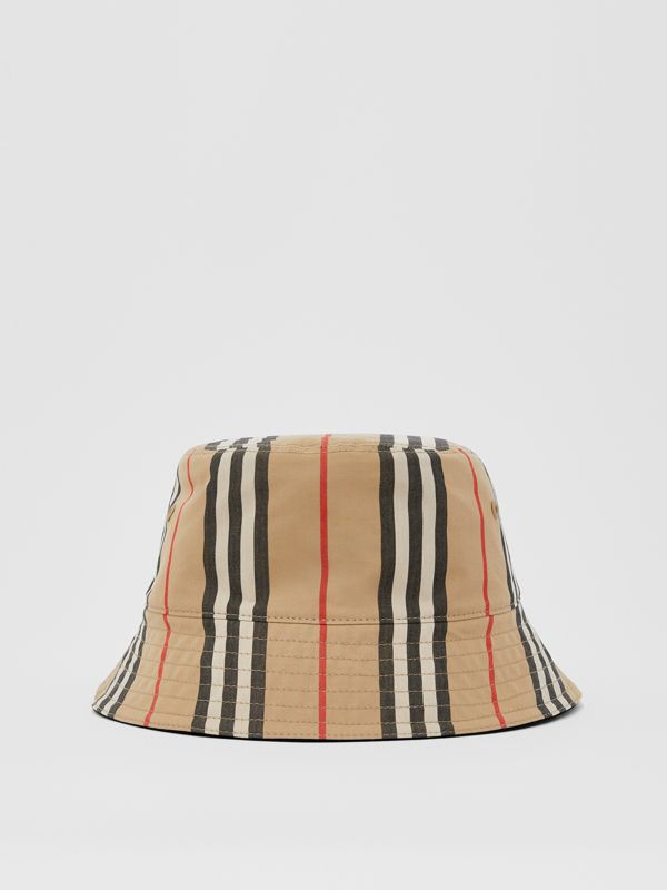 Reversible Icon Stripe Cotton Bucket Hat in Archive Beige | Burberry - cell image 2