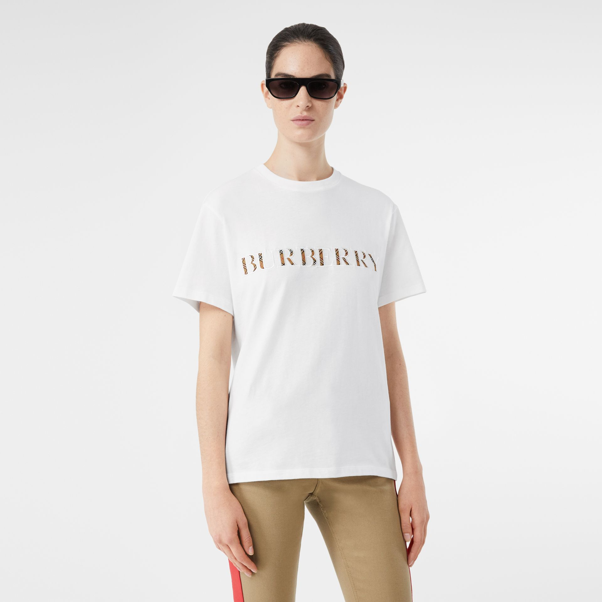 Embroidered Check Logo Cotton T-shirt in White - Women | Burberry - gallery image 3