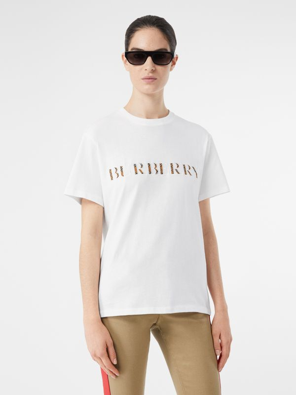 Embroidered Check Logo Cotton T-shirt in White - Women | Burberry - cell image 3