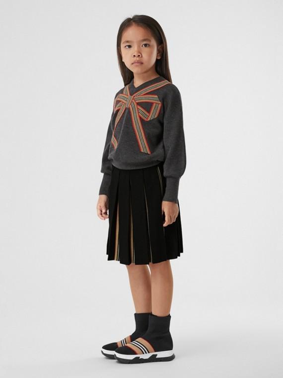 Icon Stripe Detail Wool Blend Pleated Skirt in Black