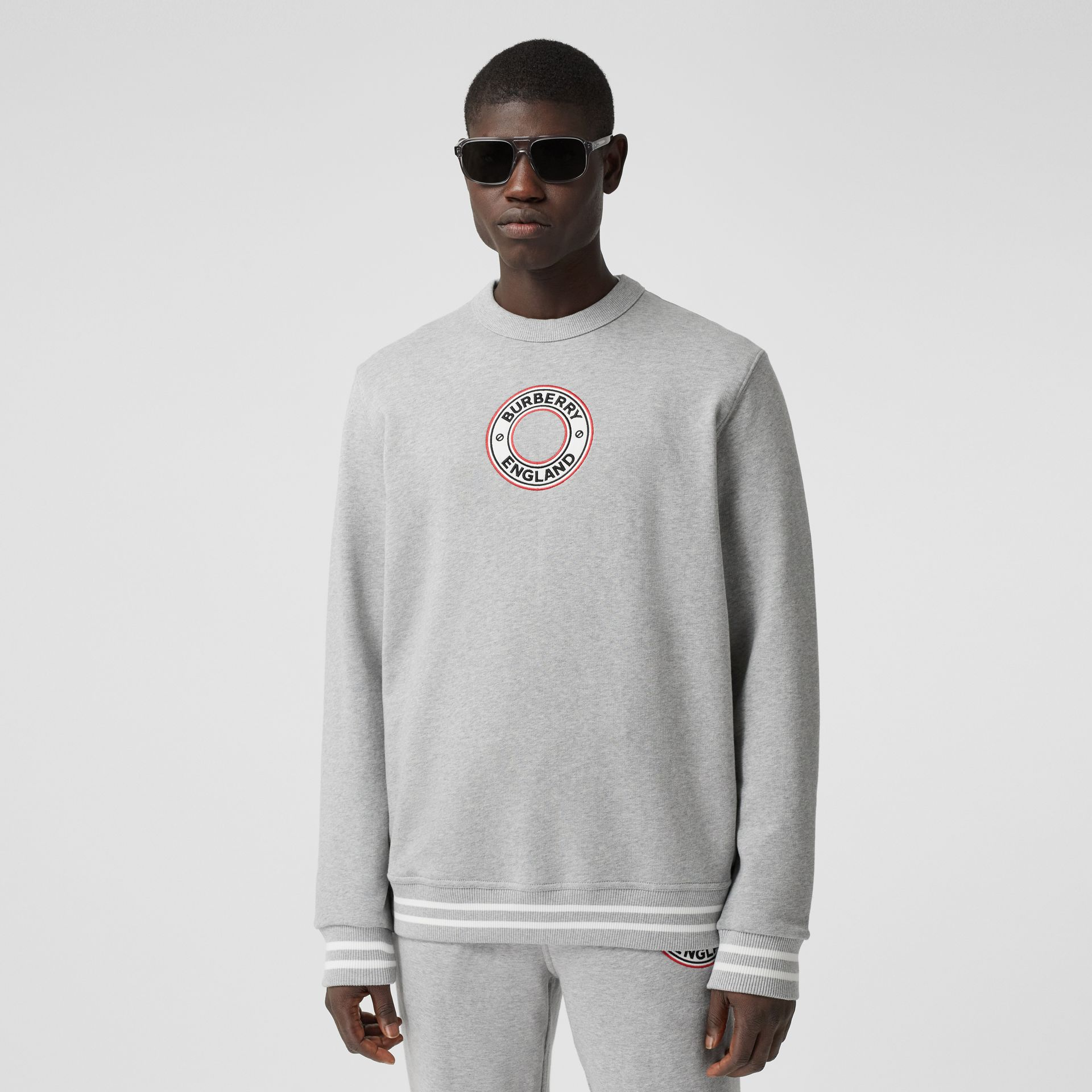 Logo Graphic Appliqué Cotton Sweatshirt in Pale Grey Melange - Men | Burberry - gallery image 0