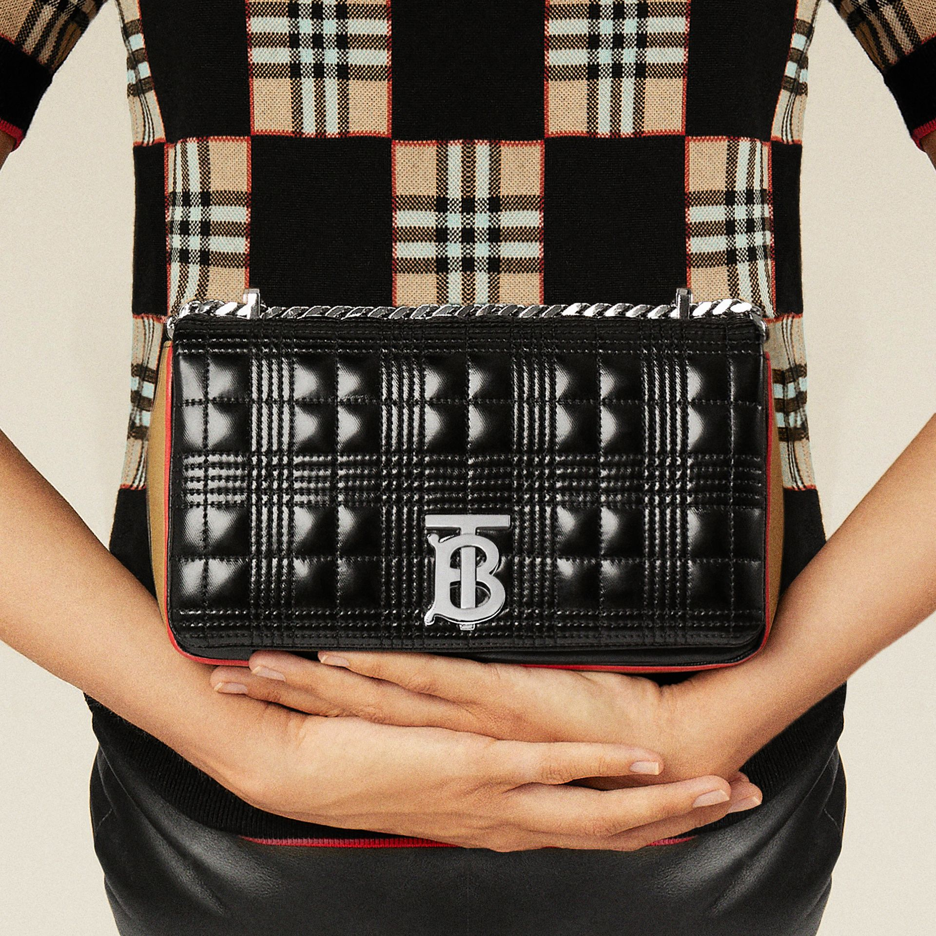 Small Icon Stripe Detail Quilted Lola Bag in Black/white - Women | Burberry United Kingdom - gallery image 12