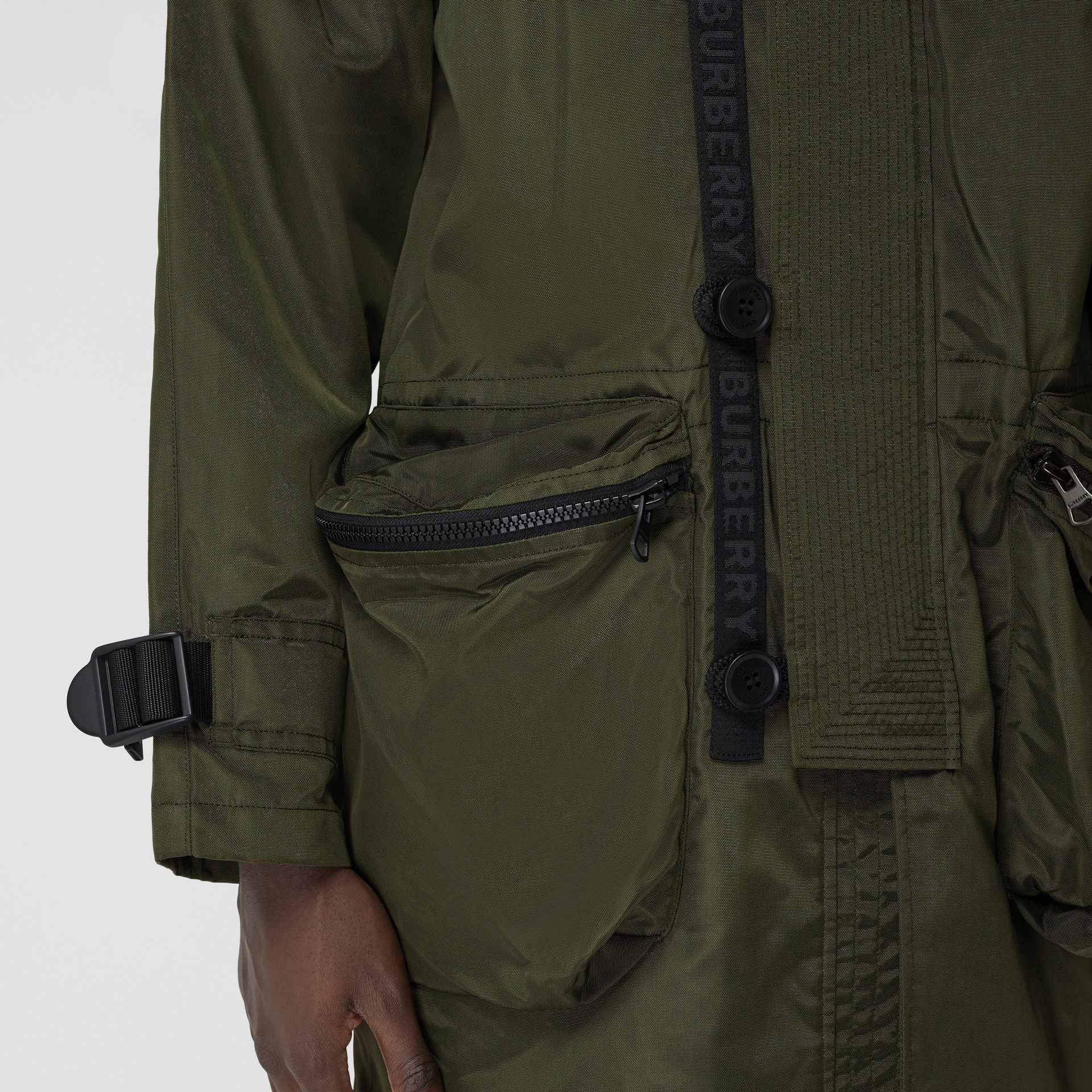 Packaway Hood Logo Tape Nylon Canvas Parka in Dark Olive - Men | Burberry - gallery image 4