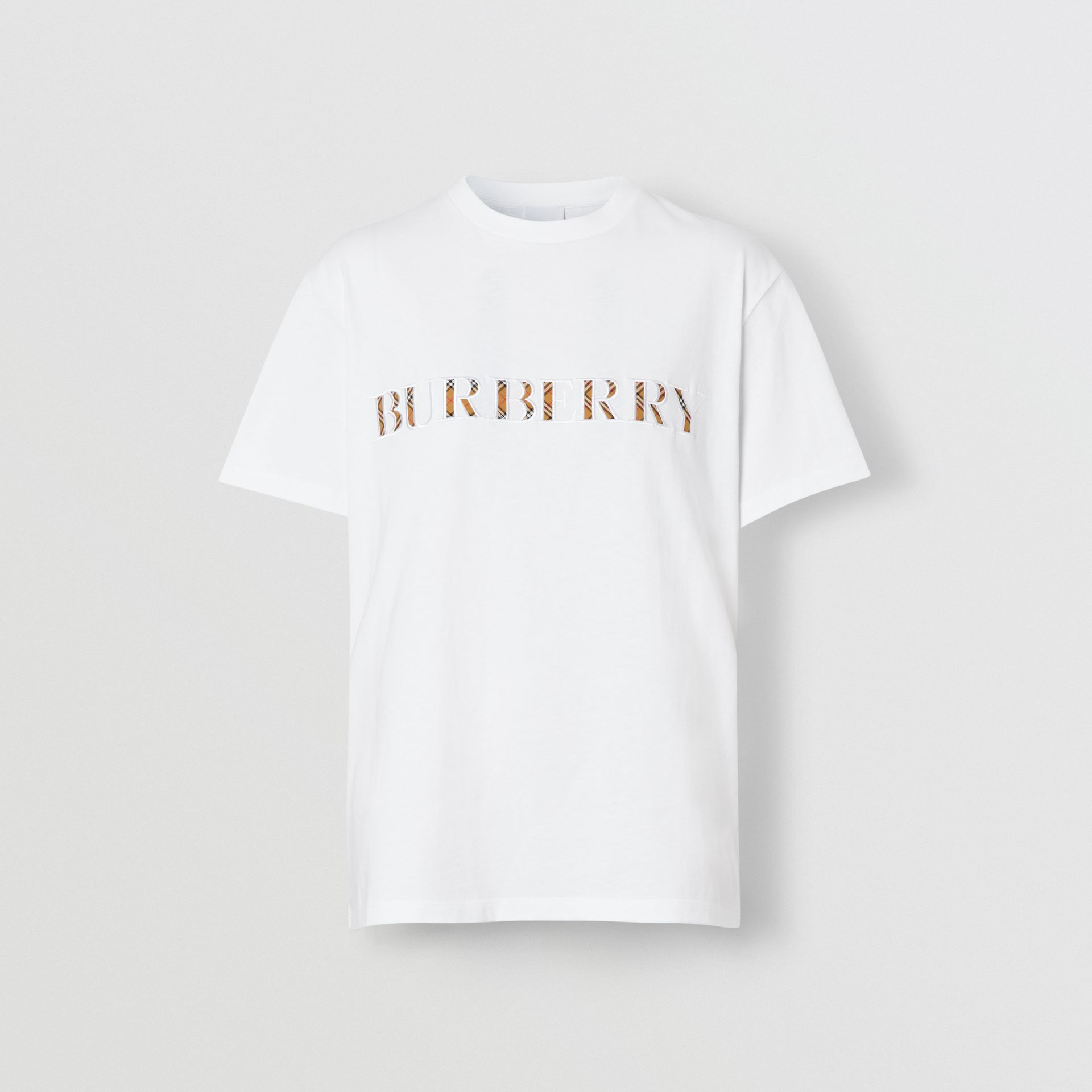 Embroidered Check Logo Cotton T-shirt in White - Women | Burberry - gallery image 2