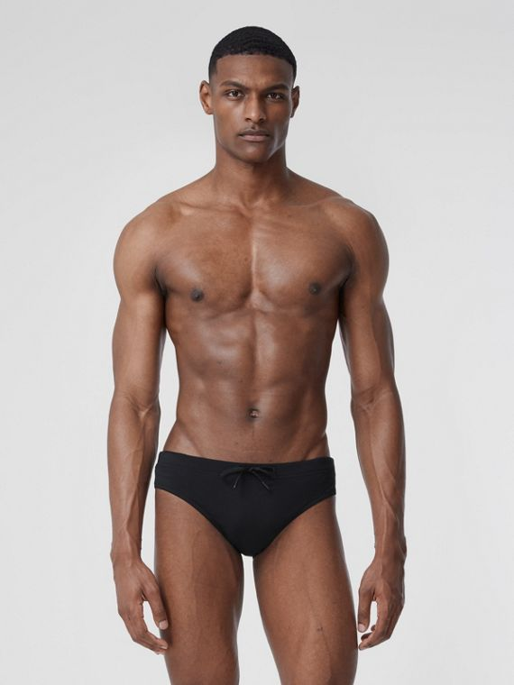 Monogram Motif Drawcord Swim Briefs in Black