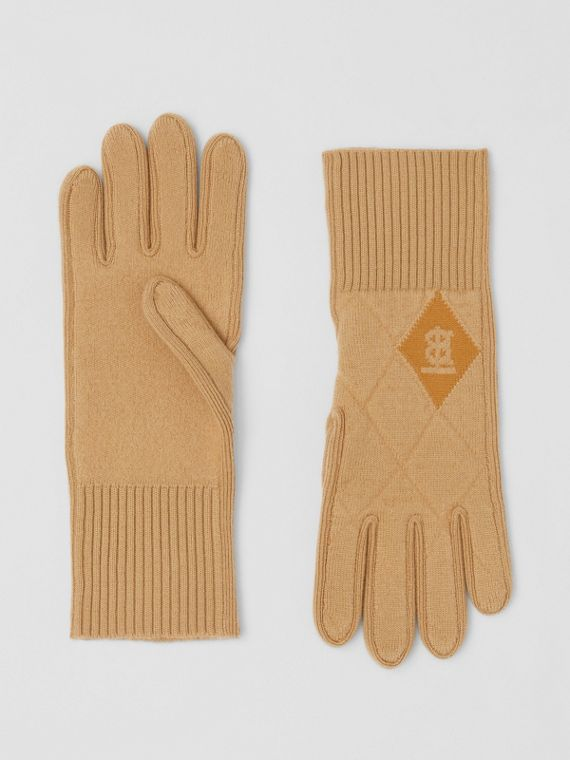 Monogram Motif Diamond Knit Merino Wool Gloves in Camel
