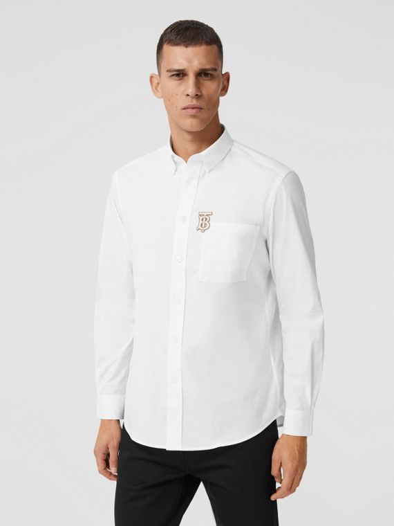 Monogrom Motif Stretch Cotton Poplin Shirt in White