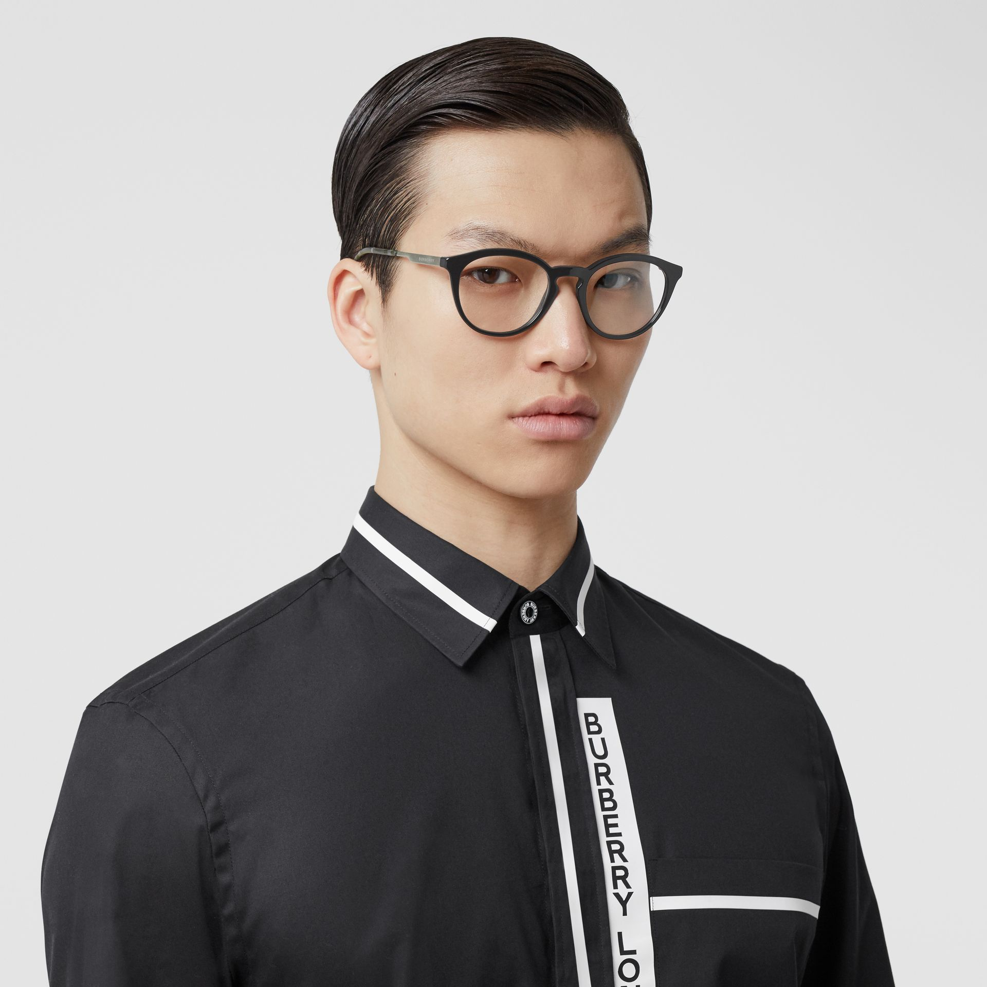 Round Optical Frames in Black - Men | Burberry - gallery image 2
