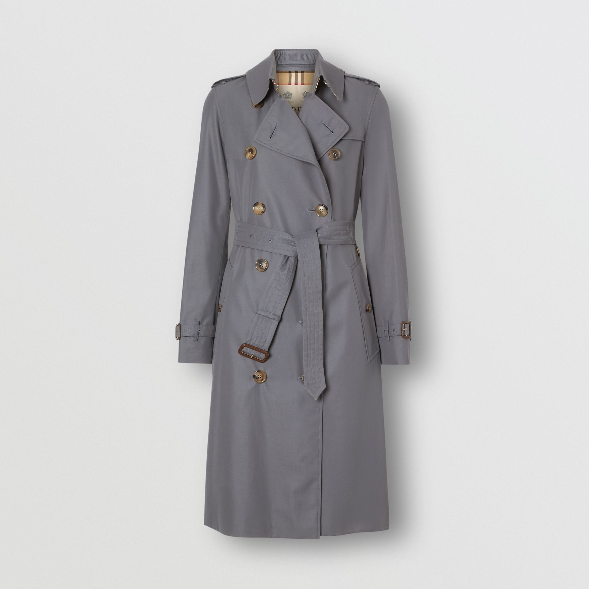Cotton Gabardine Long Trench Coat in Mid Grey - Women | Burberry - gallery image 5