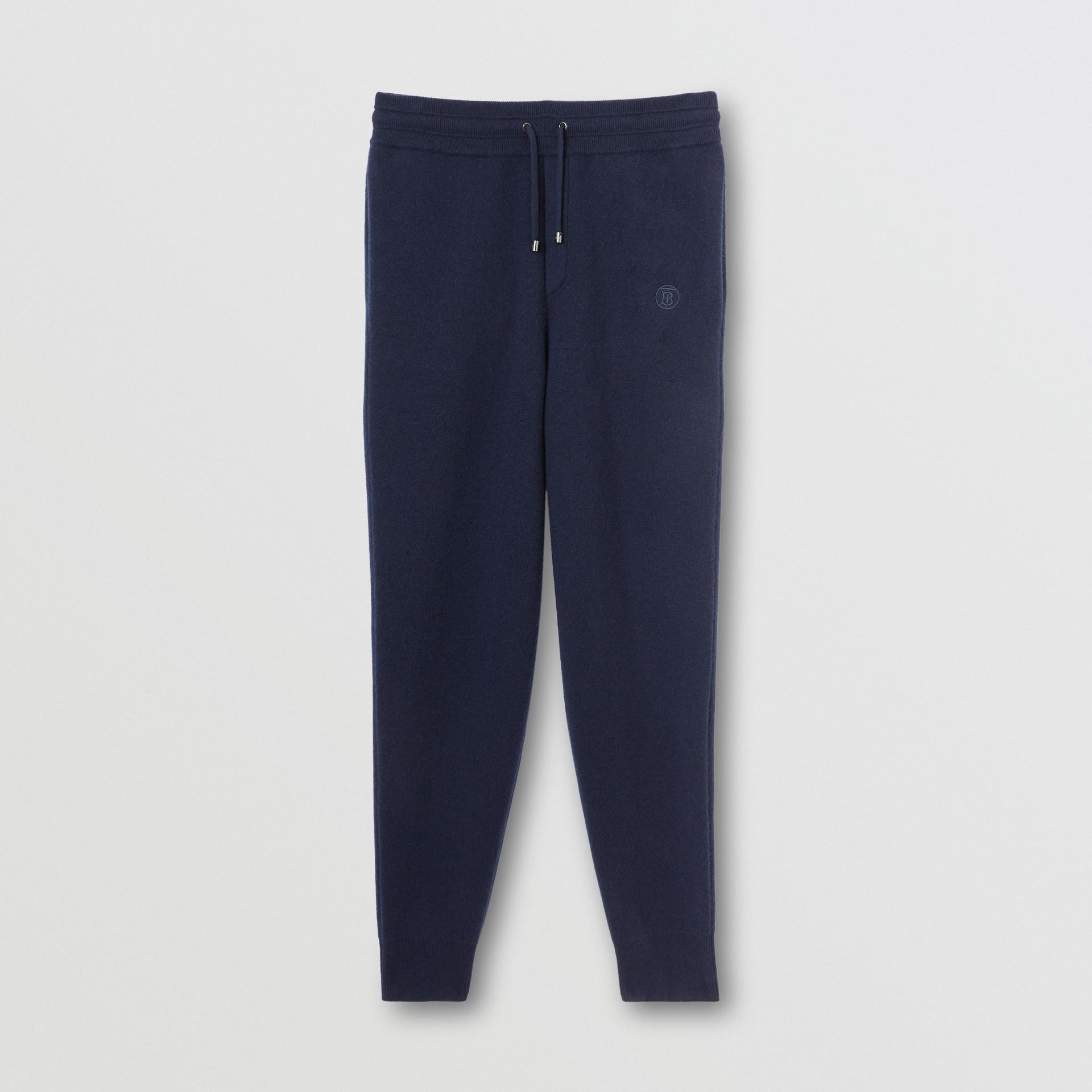 Monogram Motif Cashmere Blend Jogging Pants in Navy - Men   Burberry - gallery image 3