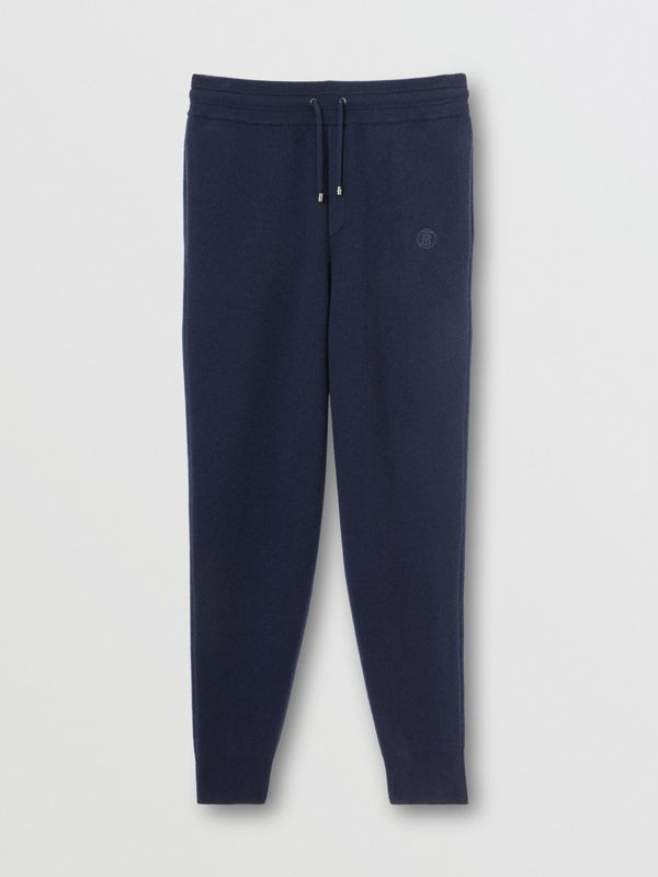 Monogram Motif Cashmere Blend Jogging Pants in Navy - Men | Burberry - cell image 3