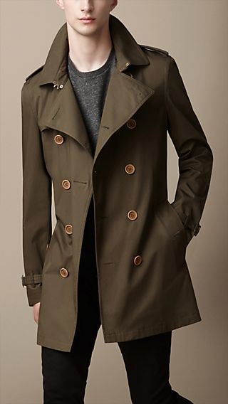 Long Cotton Twill Trench Coat