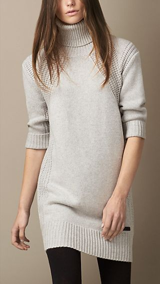 Multistitch Roll Neck Dress