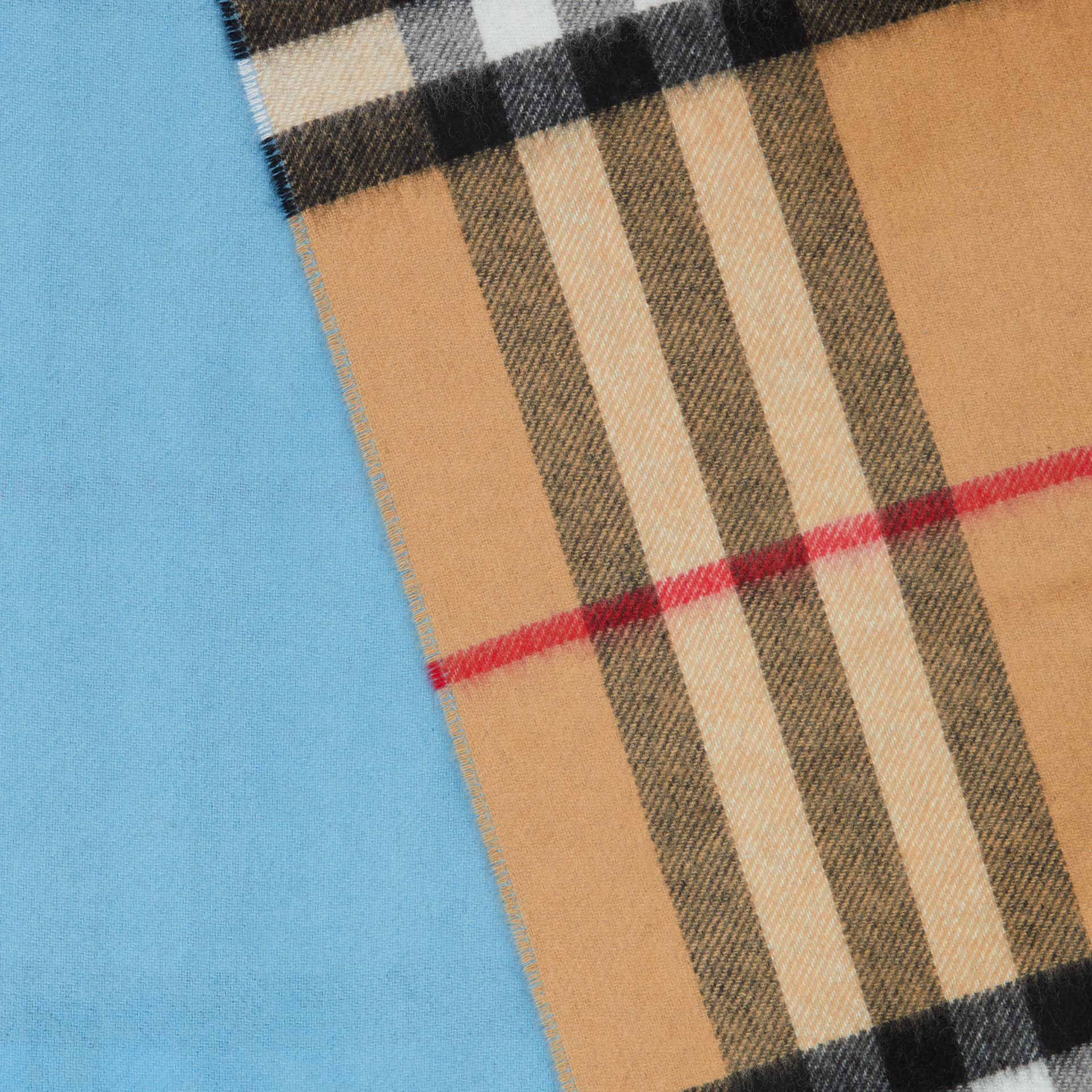 Reversible Check Cashmere Scarf in Blue Topaz | Burberry - gallery image 1