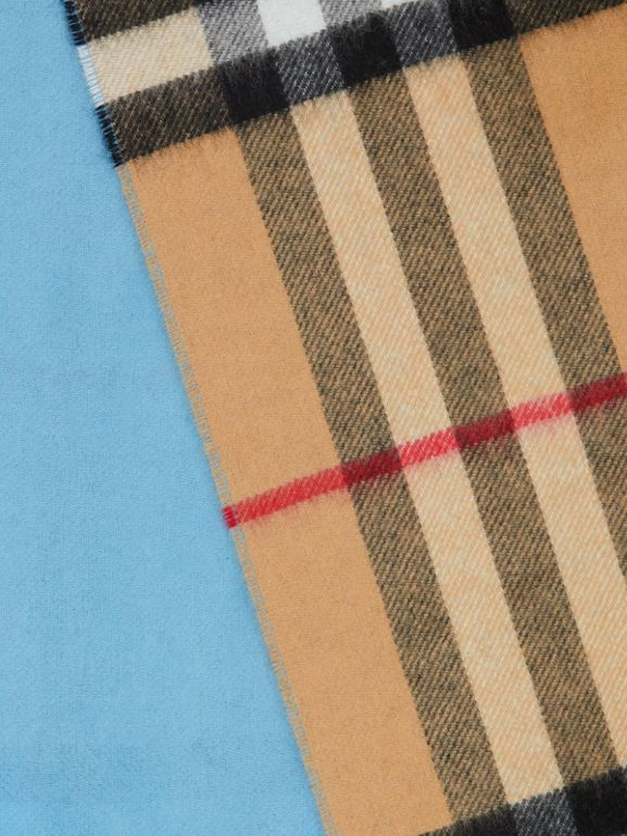 Reversible Check Cashmere Scarf in Blue Topaz | Burberry - cell image 1