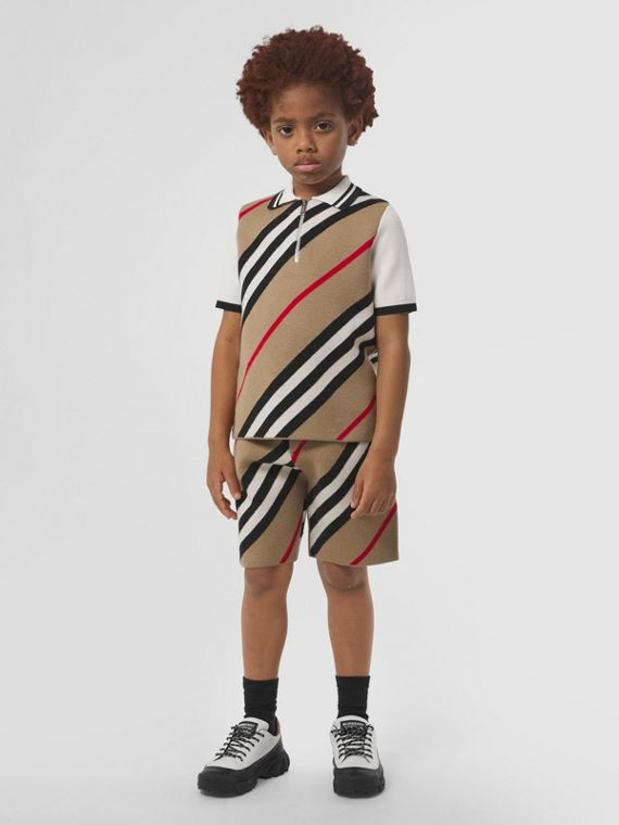Icon Stripe Wool Blend Zip-front Polo Shirt in Archive Beige