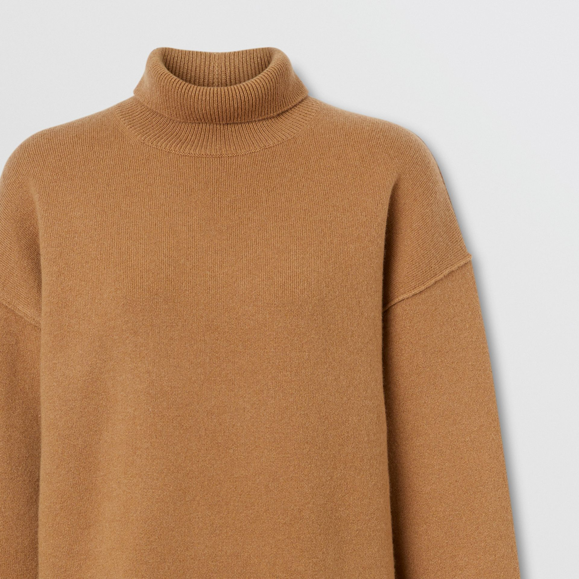 Monogram Motif Cashmere Blend Funnel Neck Sweater in Camel - Women | Burberry - gallery image 6