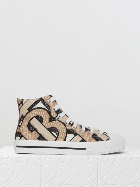 Monogram Print Cotton Canvas High-top Sneakers in Dark Beige