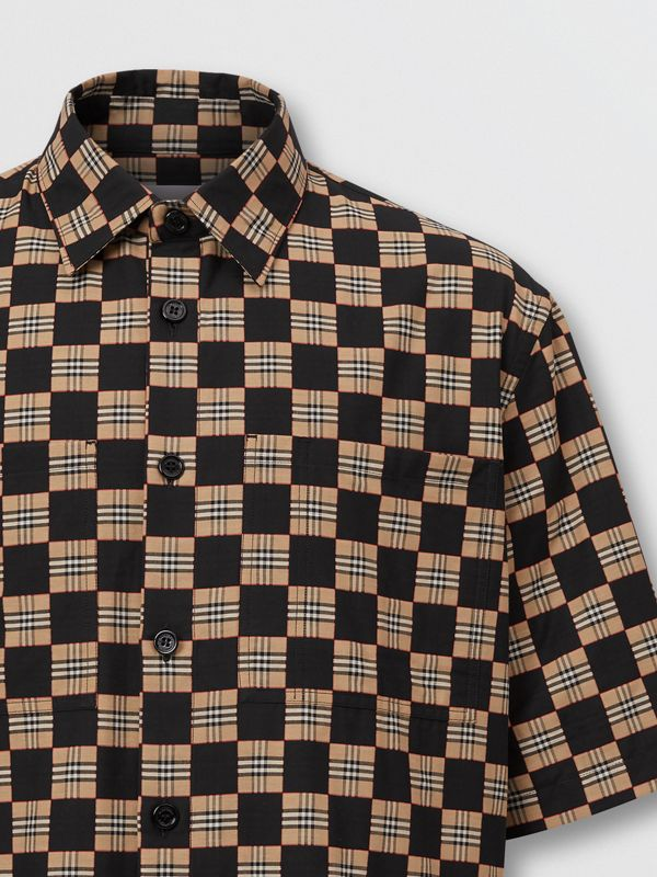 Short-sleeve Chequer Print Cotton Shirt | Burberry United Kingdom - cell image 2