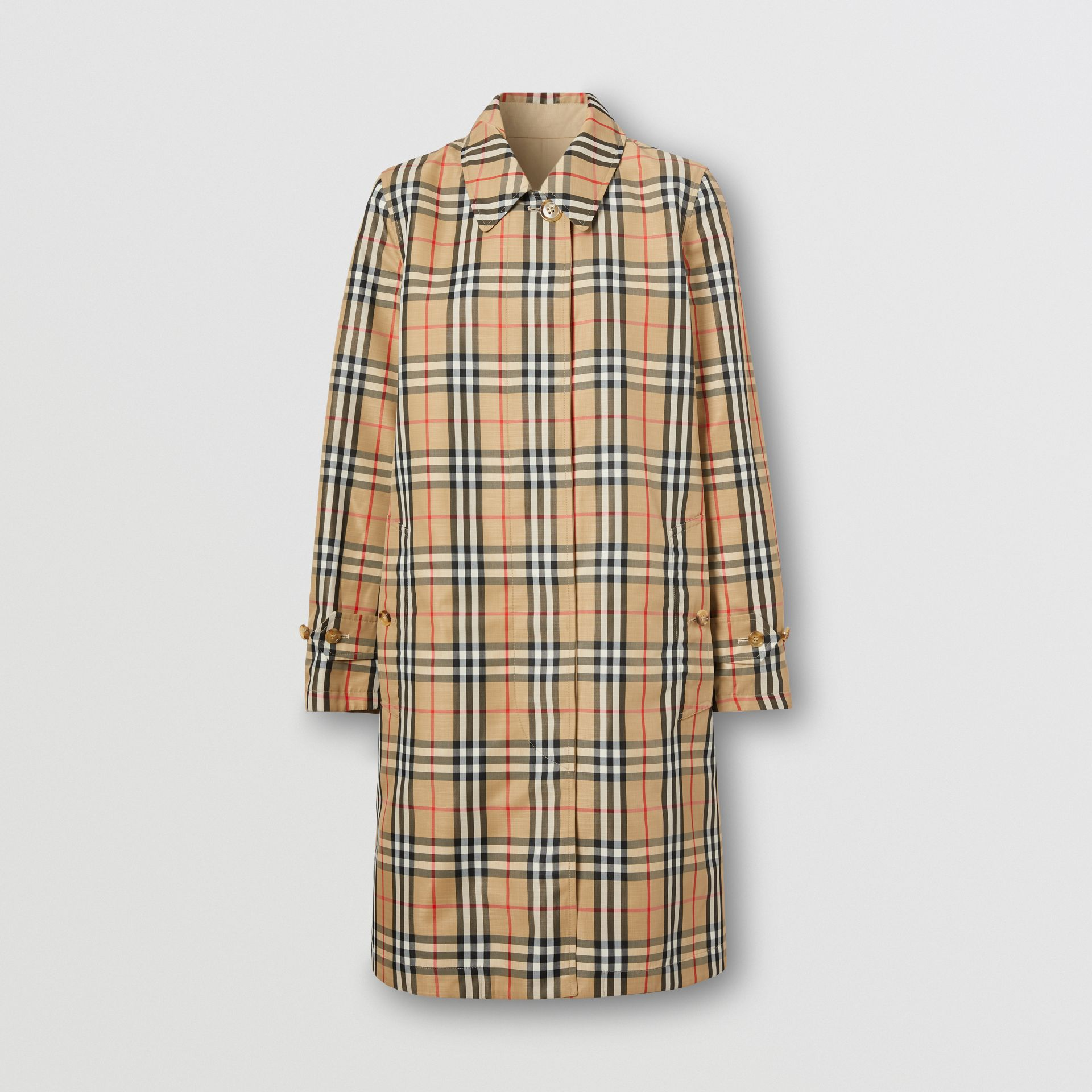 Reversible Cotton and Vintage Check Car Coat in Honey - Women | Burberry Australia - gallery image 7