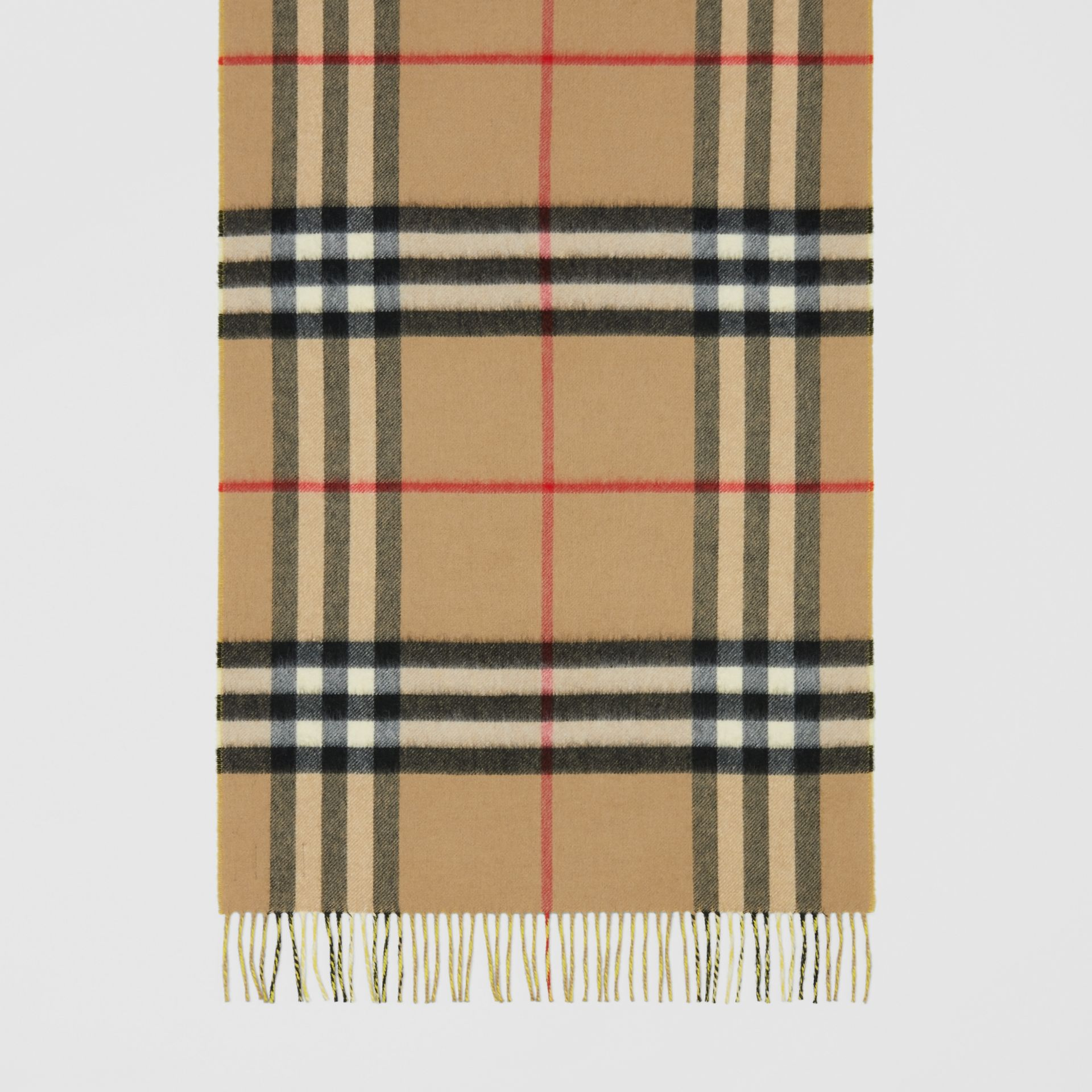 Reversible Check Cashmere Scarf in Yellow | Burberry - gallery image 4