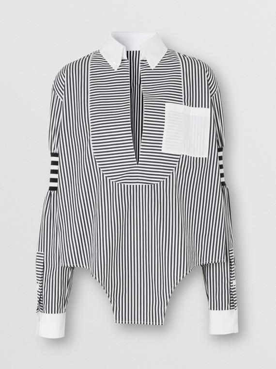 Cut-out Hem Striped Cotton Poplin Shirt in Black