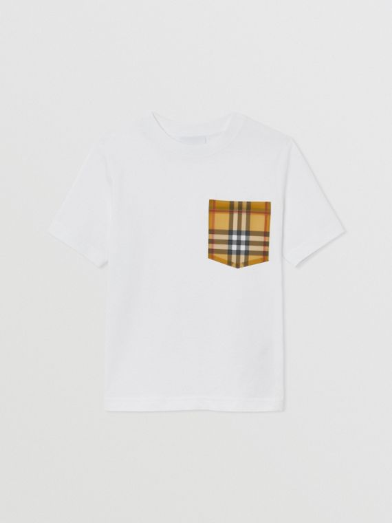 Vintage Check Pocket Cotton T-shirt in White