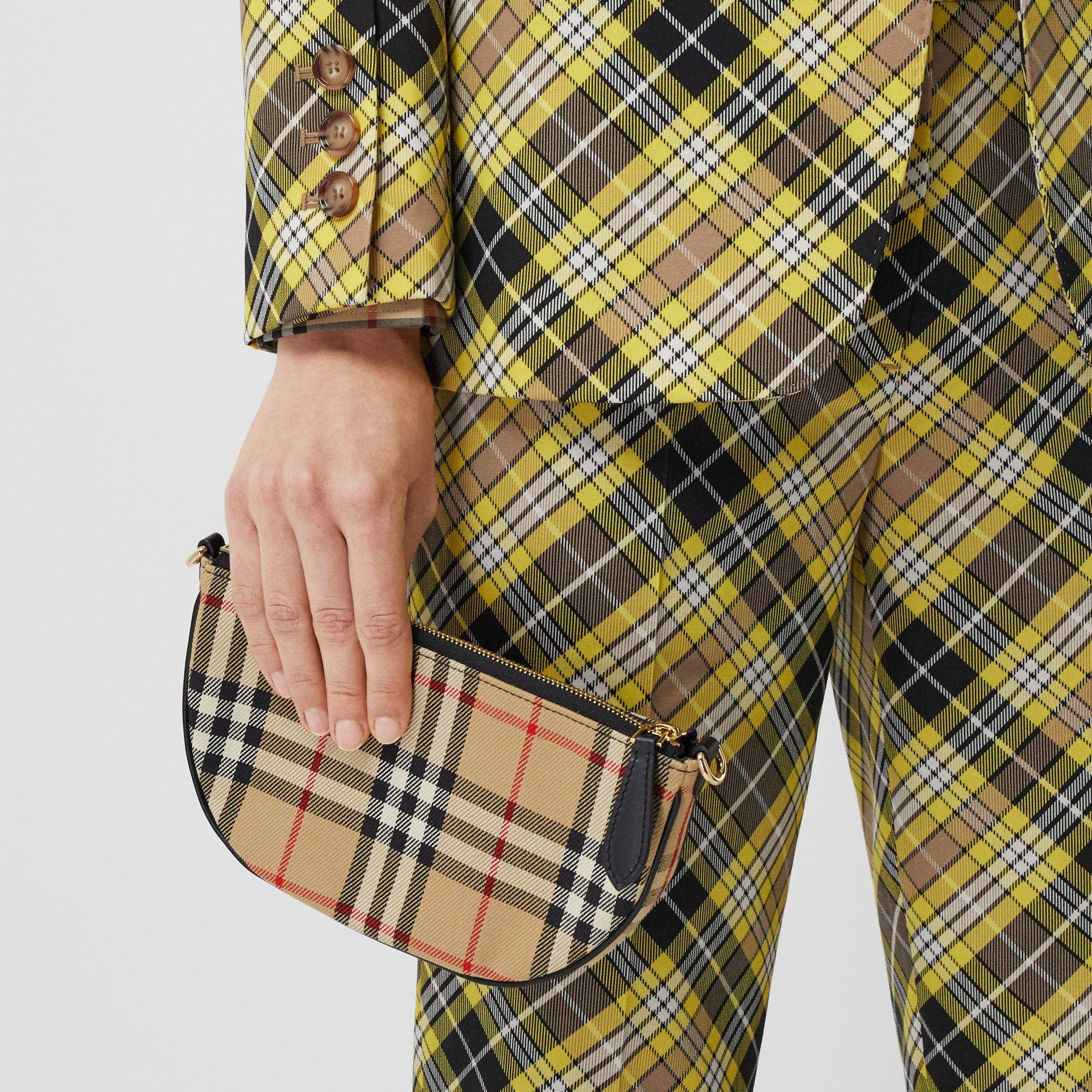 Vintage Check Cotton Olympia Pouch in Archive Beige - Women | Burberry United Kingdom - gallery image 8