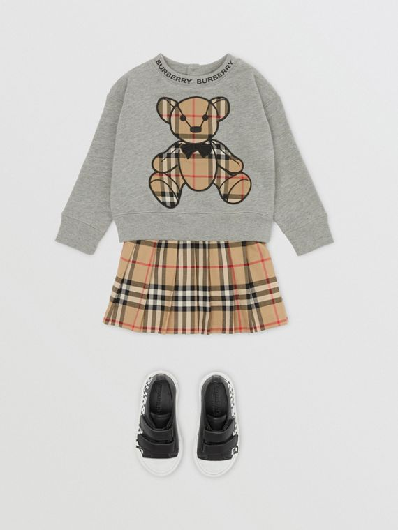 Thomas Bear Appliqué Cotton Sweatshirt in Grey Melange