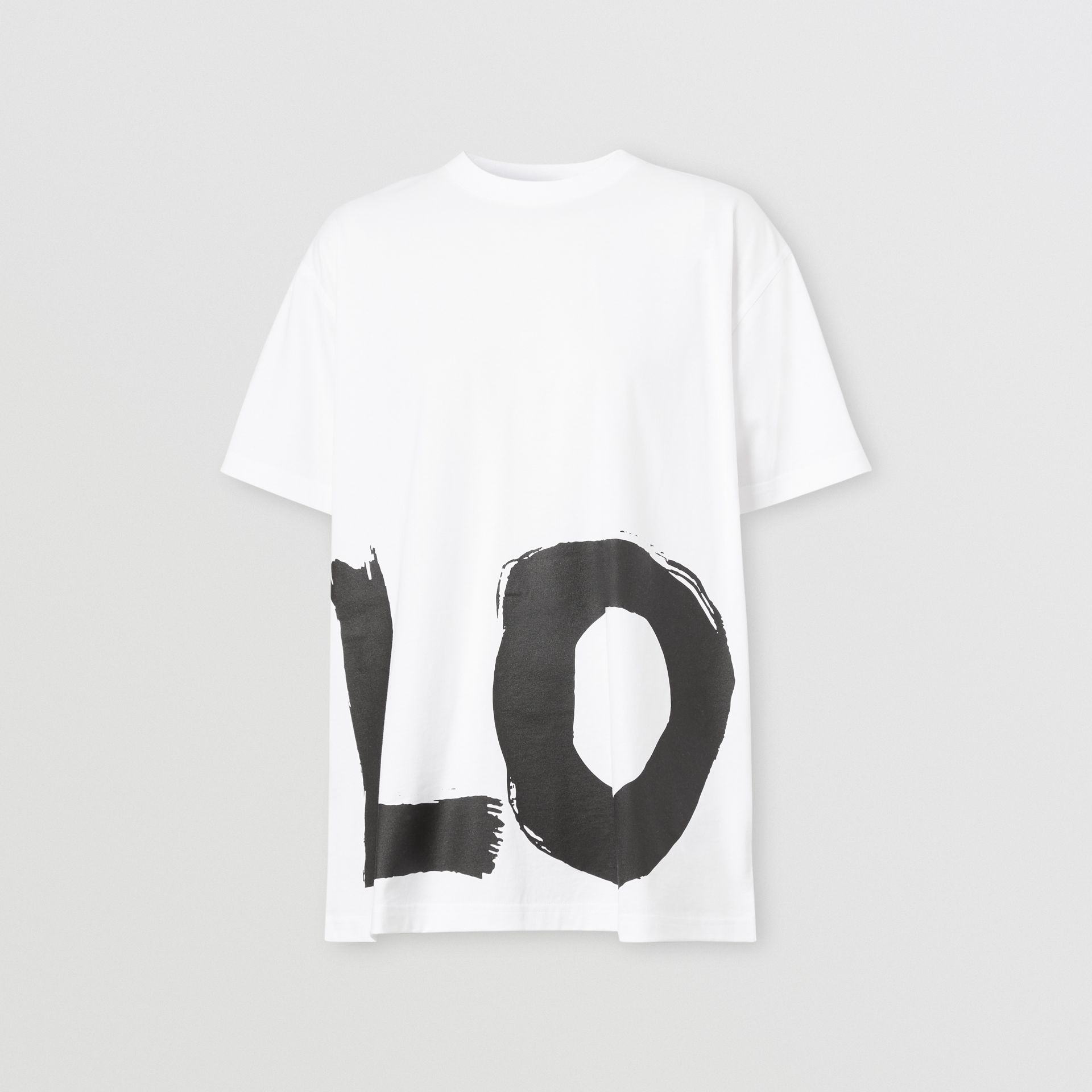 Love Print Cotton Oversized T-shirt in White - Women | Burberry - gallery image 3