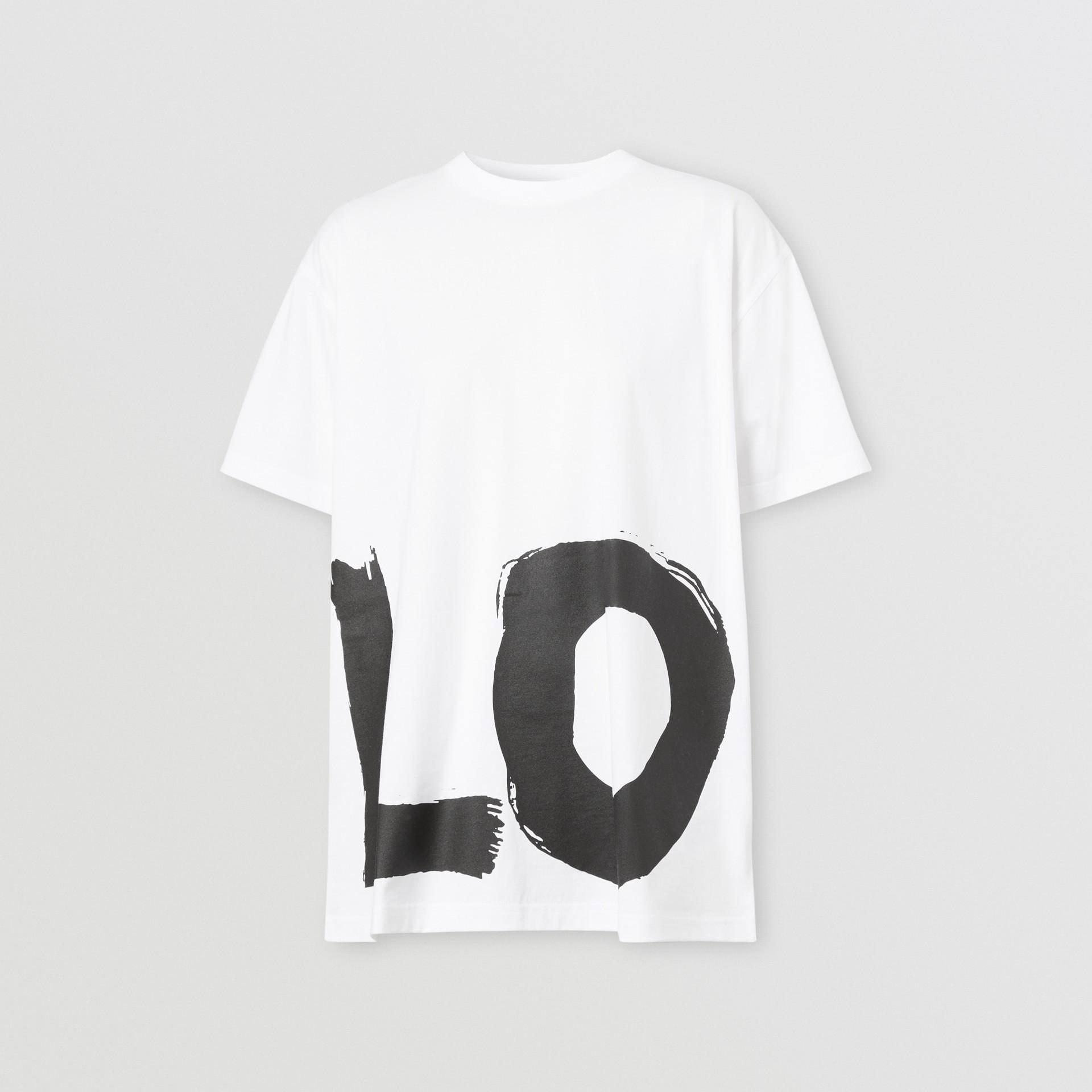 Love Print Organic Cotton Oversized T-shirt in White - Women | Burberry - gallery image 3
