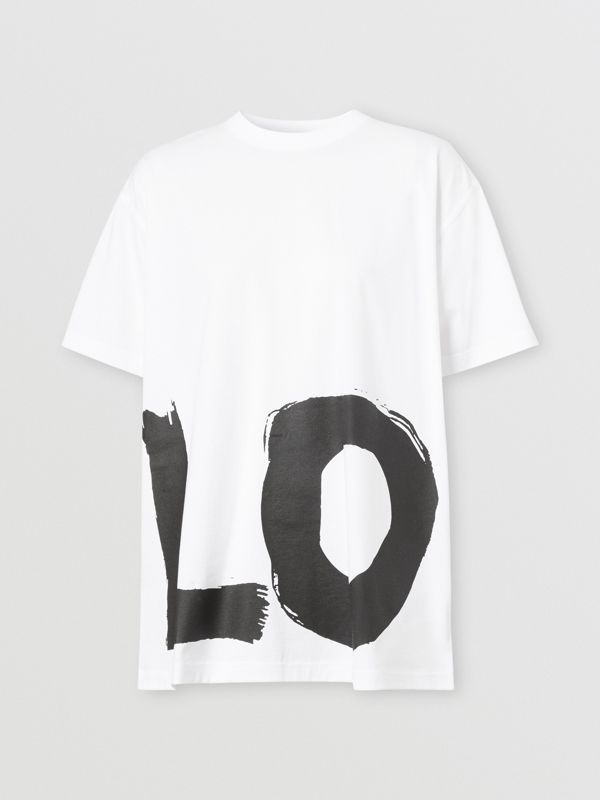 Love Print Cotton Oversized T-shirt in White - Women | Burberry - cell image 3