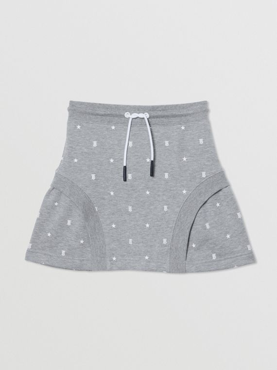 Star and Monogram Motif Cotton Skirt in Grey